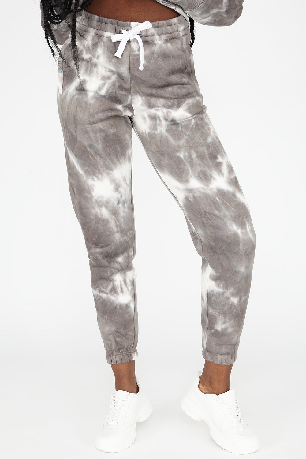 Fleece Tie Dye Boyfriend Jogger Light Grey