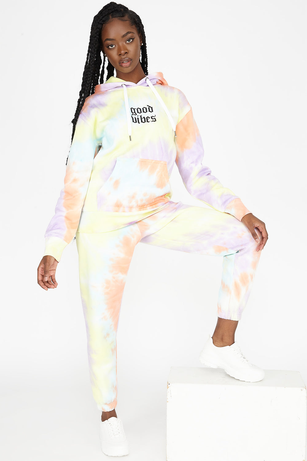 Fleece Tie Dye Graphic Good Vibes Boyfriend Jogger Multi