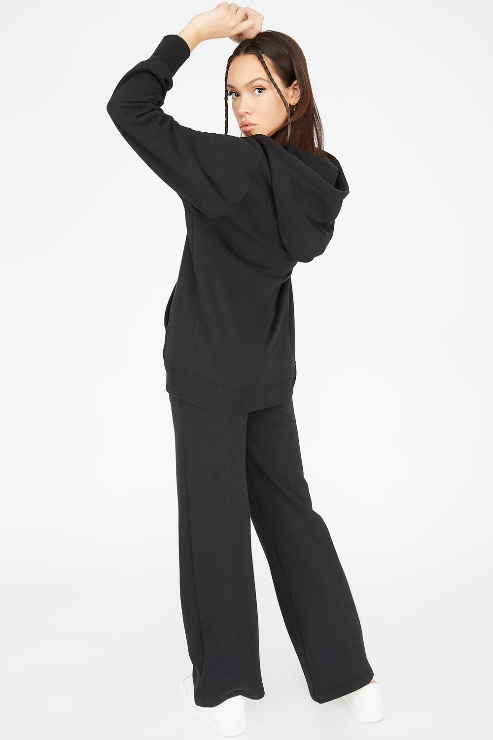 Fleece Wide Leg Jogger Black