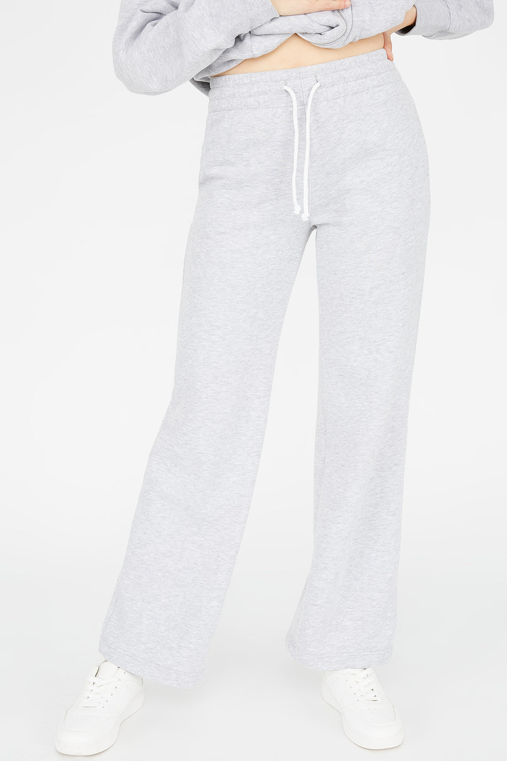 Fleece Wide Leg Jogger Heather Grey