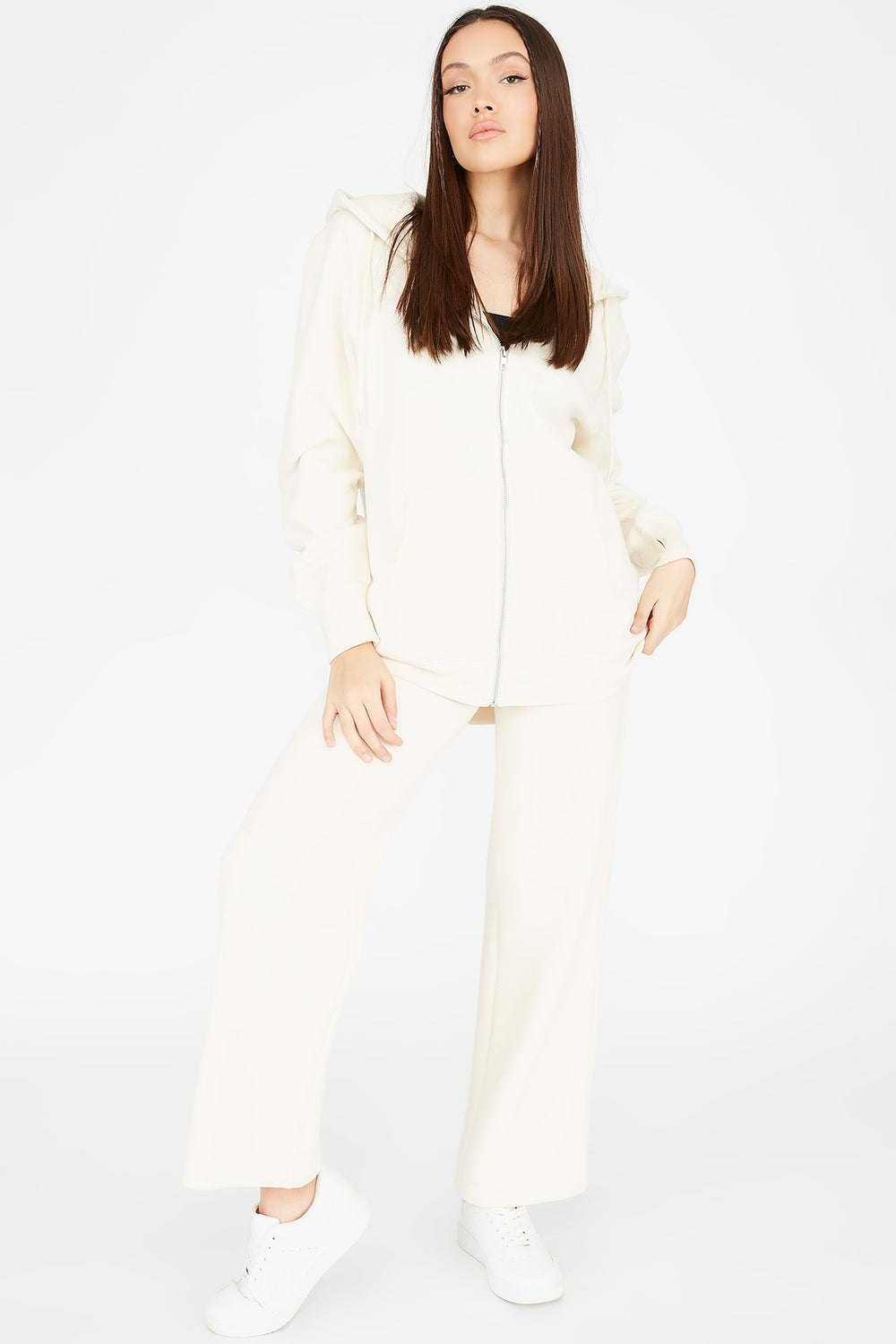 Fleece Wide Leg Jogger Ivory