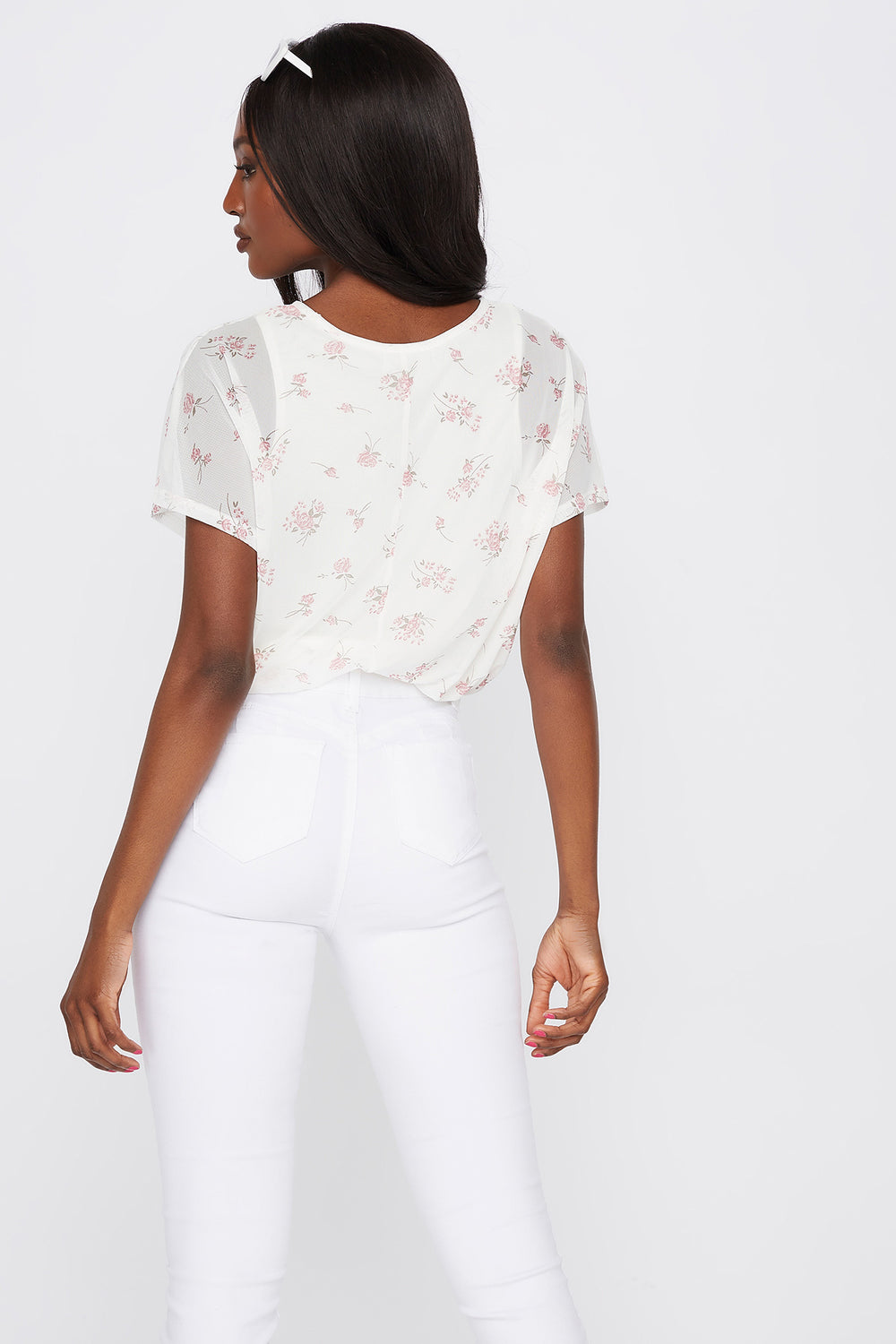 Printed Mesh Overlay T-Shirt Cream