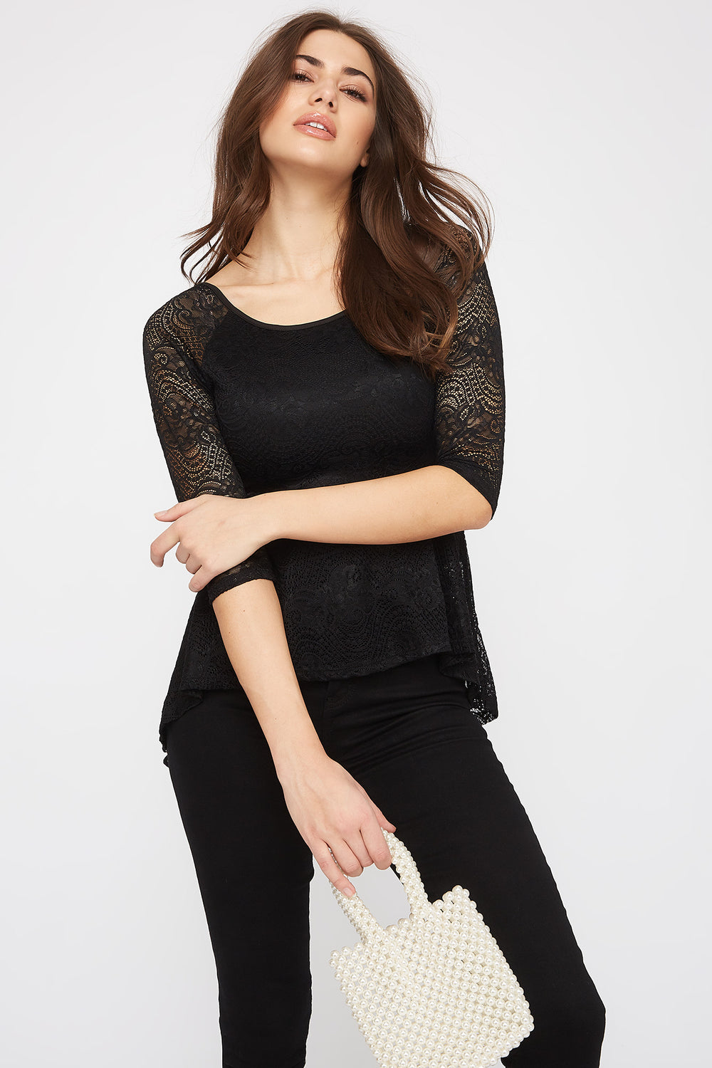 Lace High-Low Peplum Blouse Black