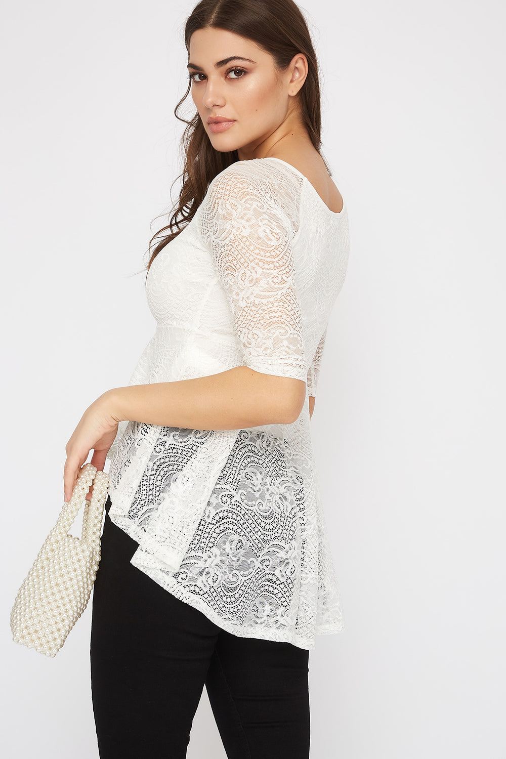 Lace High-Low Peplum Blouse White