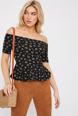 Floral Off The Shoulder Peplum Top