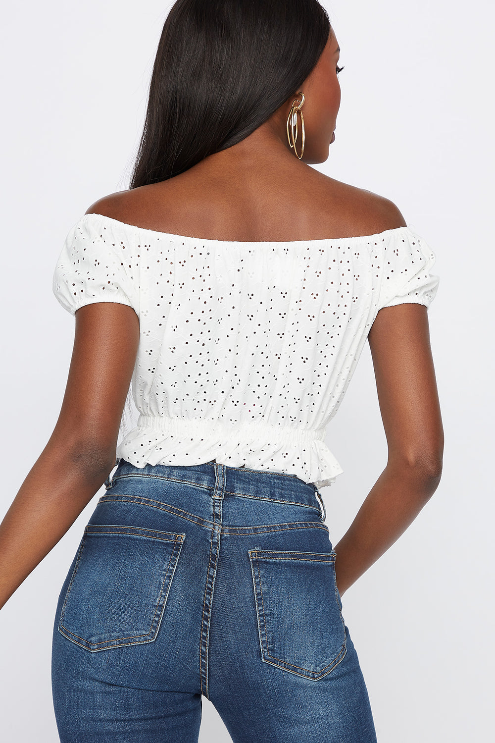 Off The Shoulder Eyelet Cropped Short Sleeve Top White