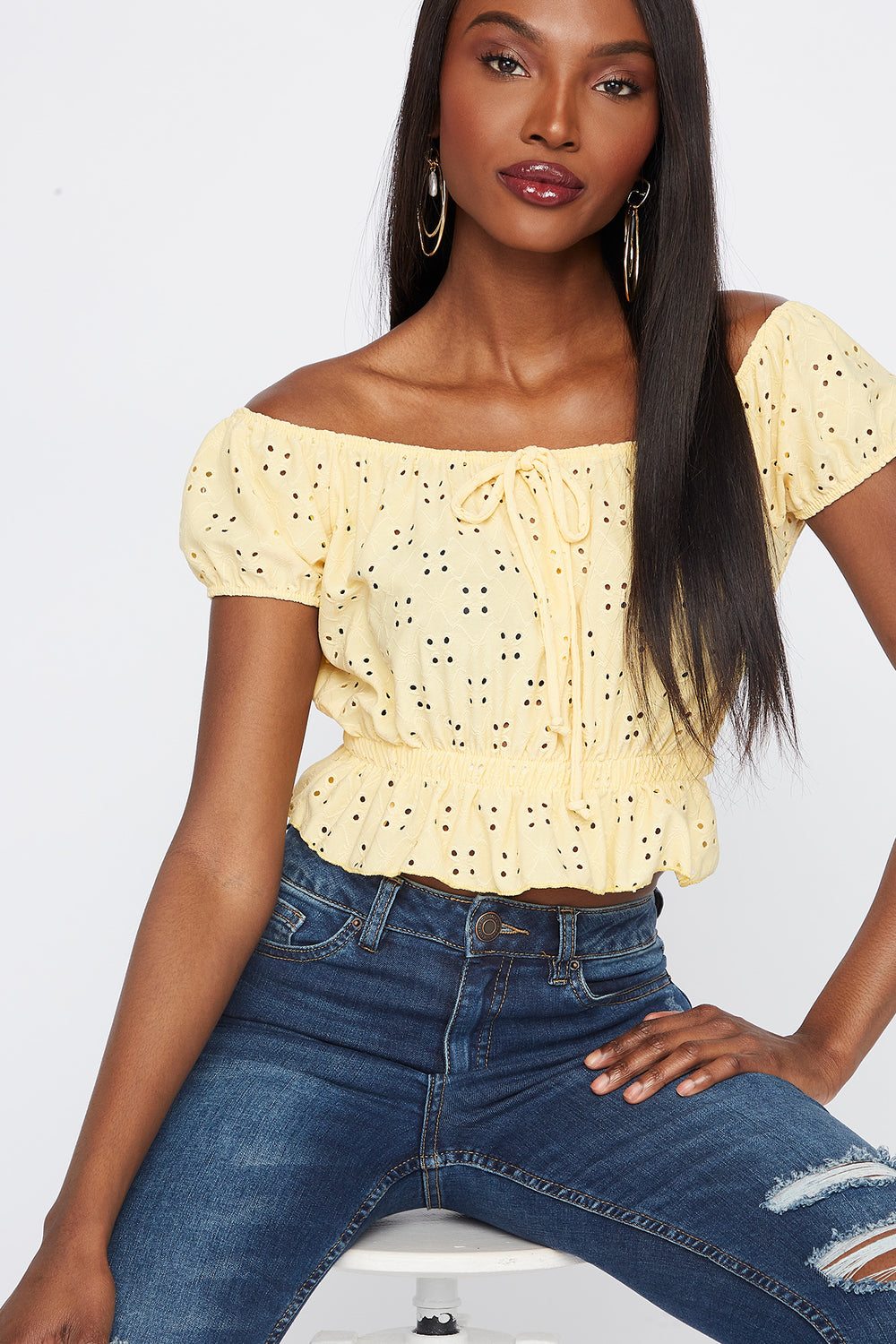 Off The Shoulder Eyelet Cropped Short Sleeve Top Yellow