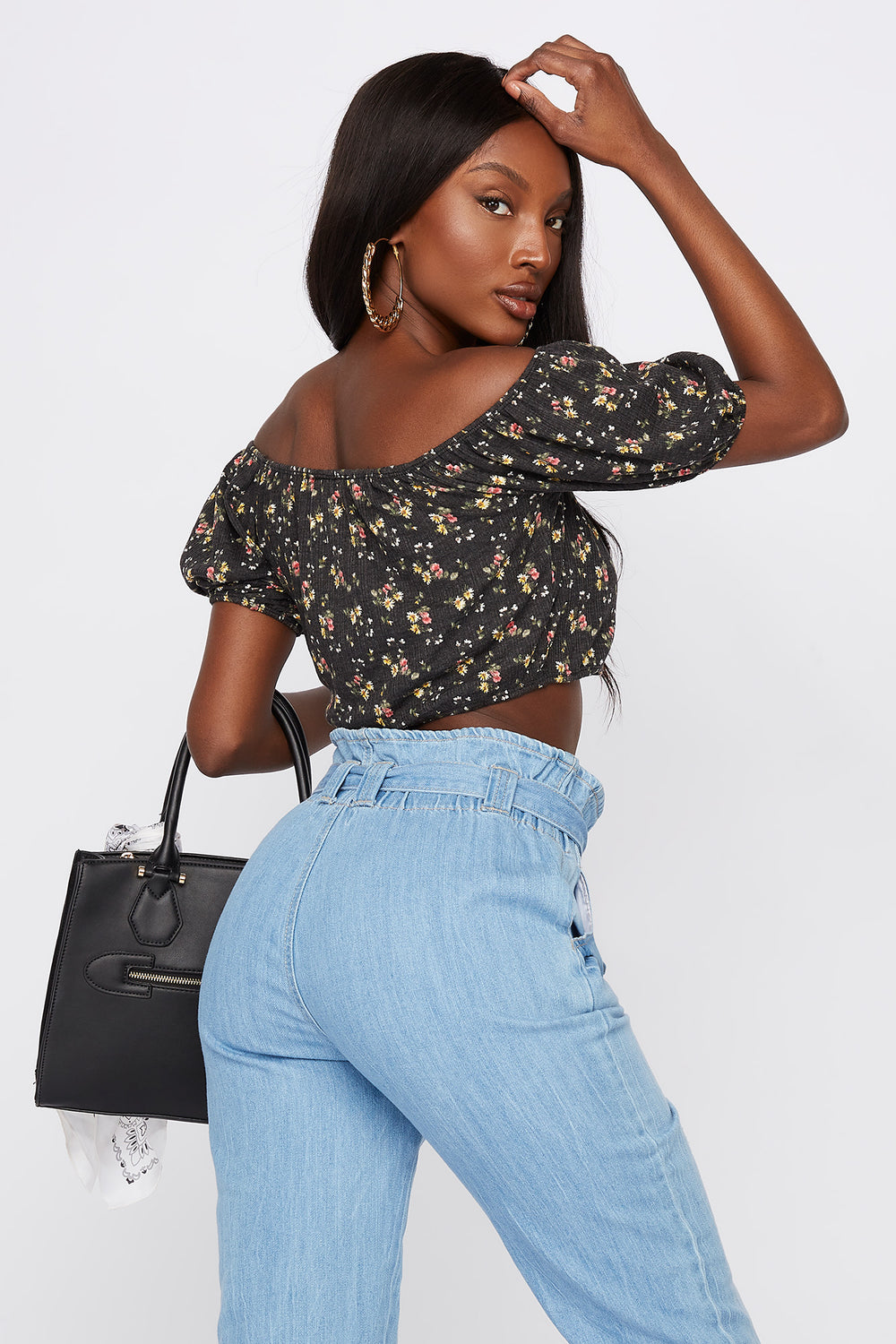 Cropped Floral Button Front Off The Shoulder Top Black