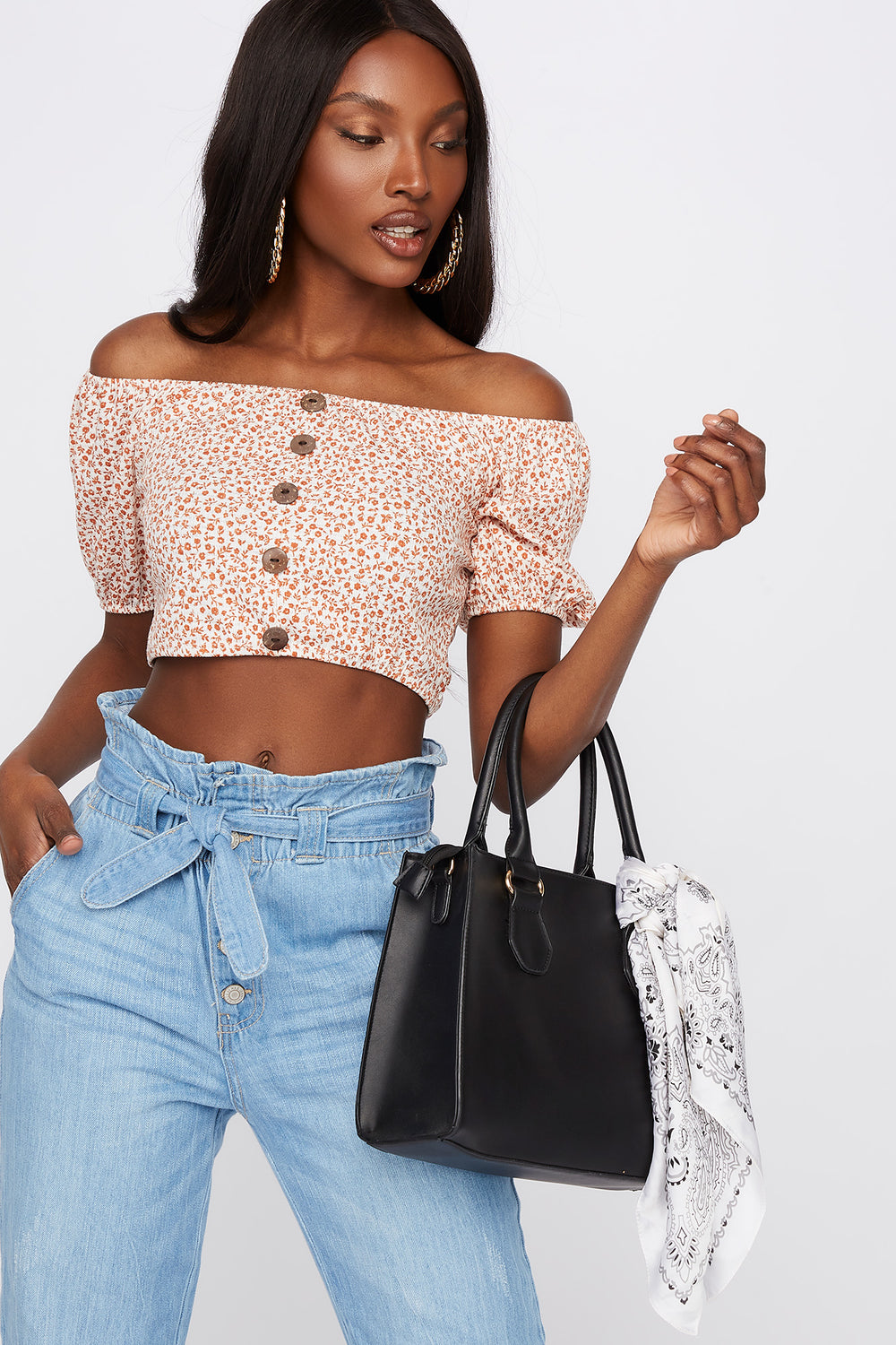 Cropped Floral Button Front Off The Shoulder Top Rust