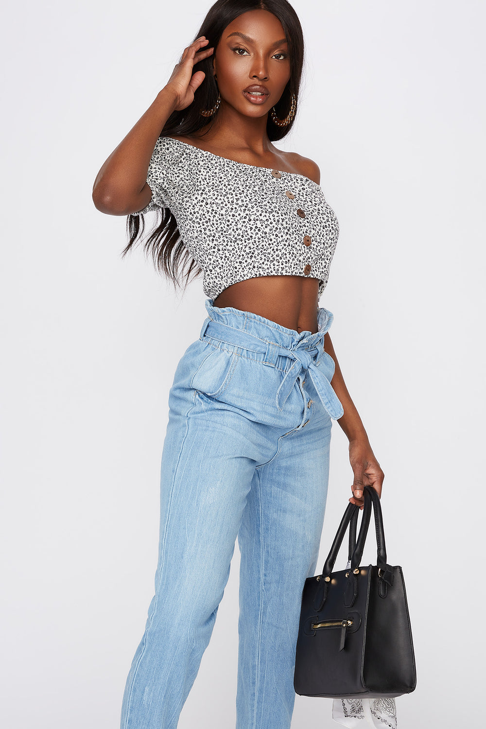 Cropped Floral Button Front Off The Shoulder Top Black with White