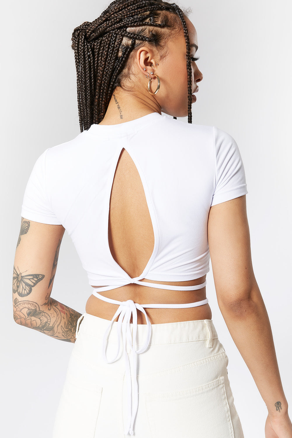 Soft Self-Tie Waist Back Cut-Out Cropped Top White