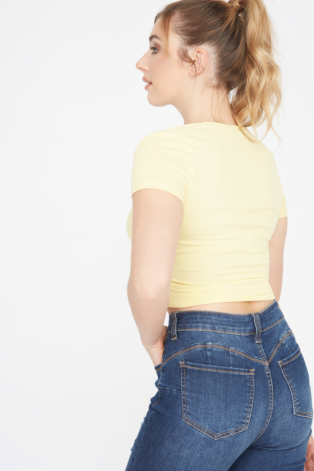 Soft Ribbed V-Neck Surplice Cropped T-Shirt Yellow