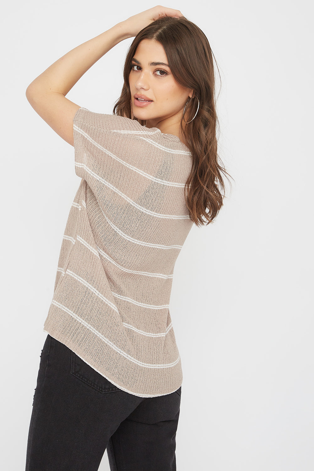 Striped Tie Front Button-Up Short Sleeve Top Taupe
