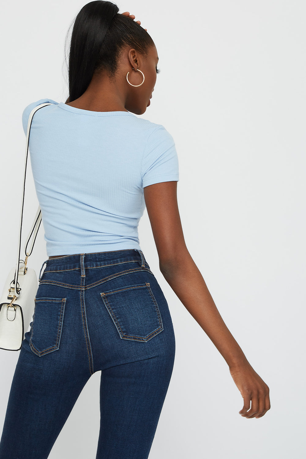Ribbed V-Neck Button Front Short Sleeve Cropped Top Light Denim Blue