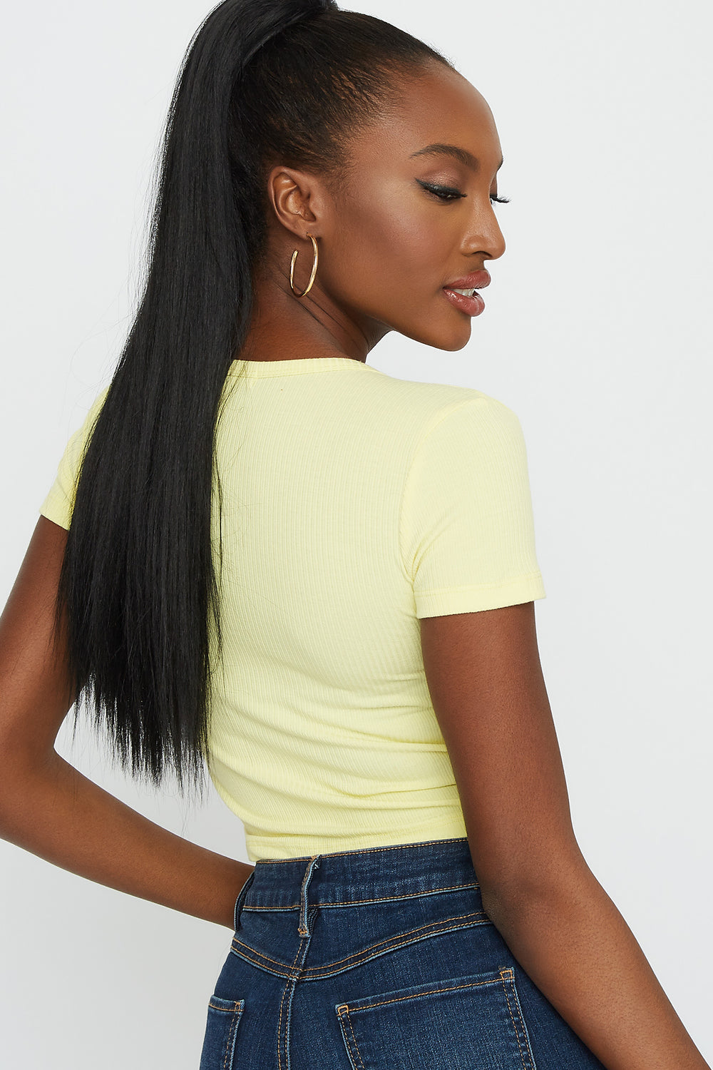 Ribbed V-Neck Button Front Short Sleeve Cropped Top Pale Yellow