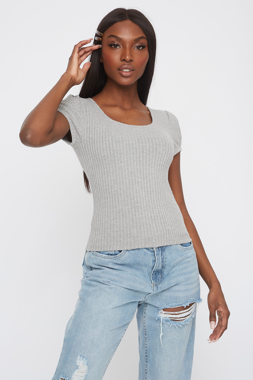 Ribbed Scoop Neck T-Shirt Heather Grey