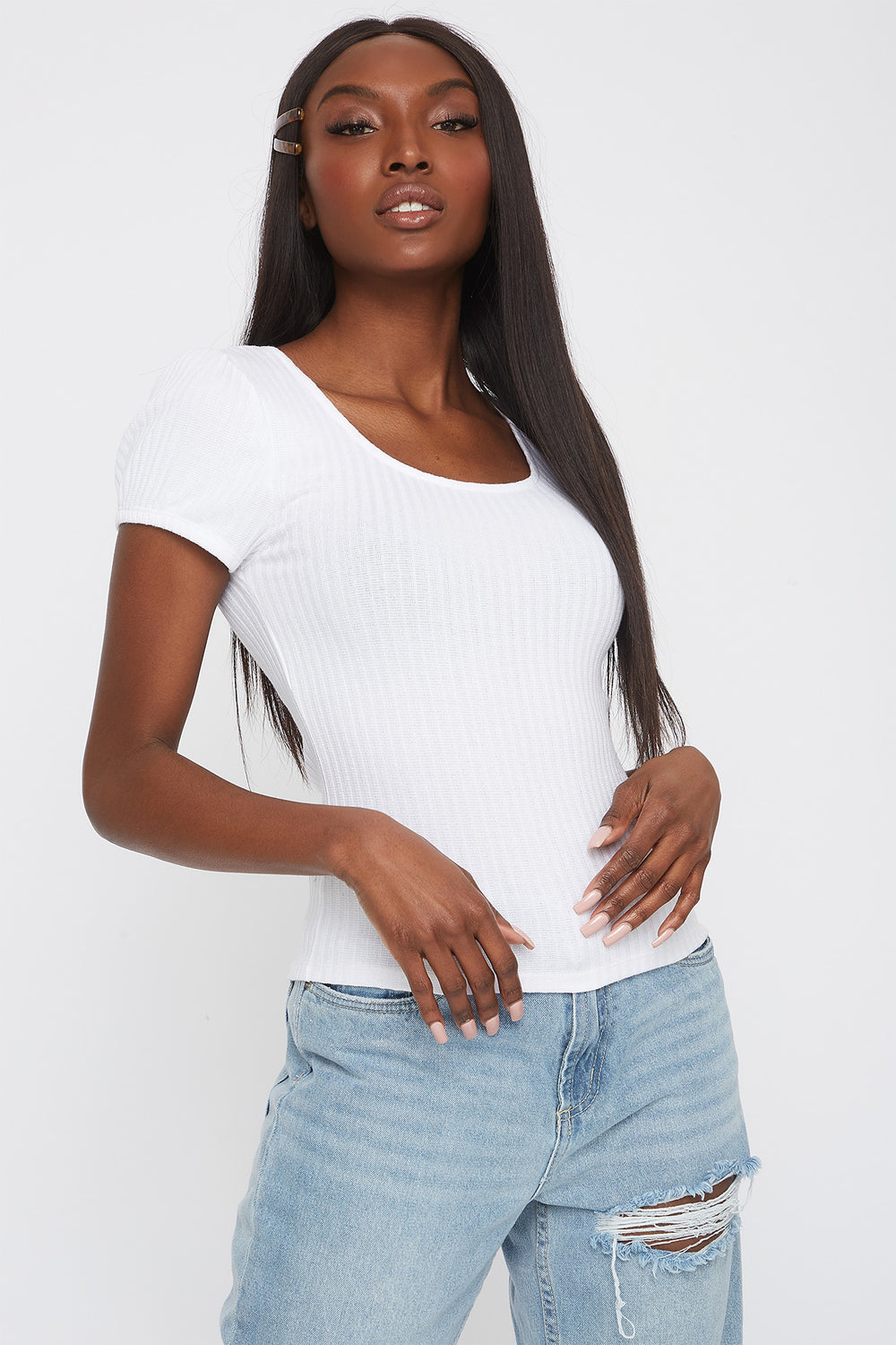 Ribbed Scoop Neck T-Shirt White