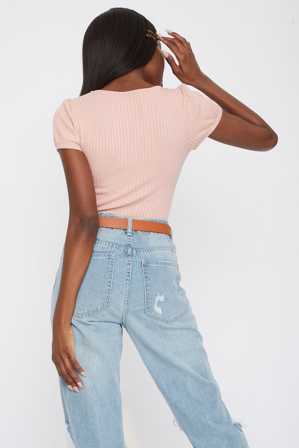 Ribbed Scoop Neck T-Shirt Rose