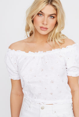 Off The Shoulder Cropped Eyelet Top