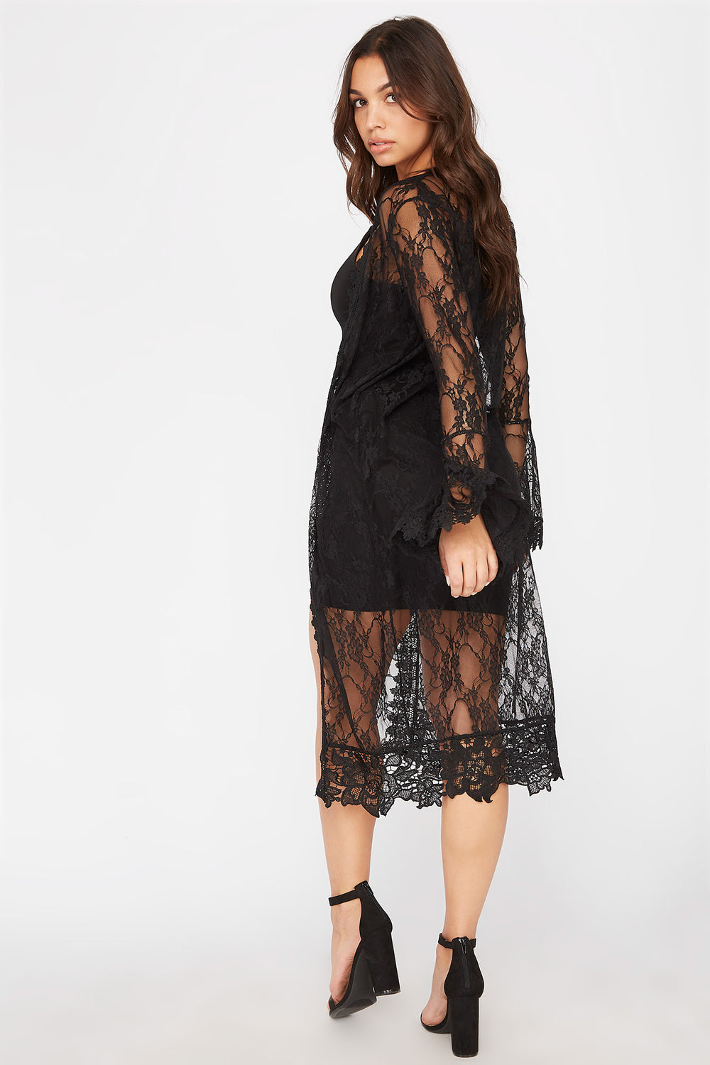 Lace Bell Sleeve Longline Cardigan Black