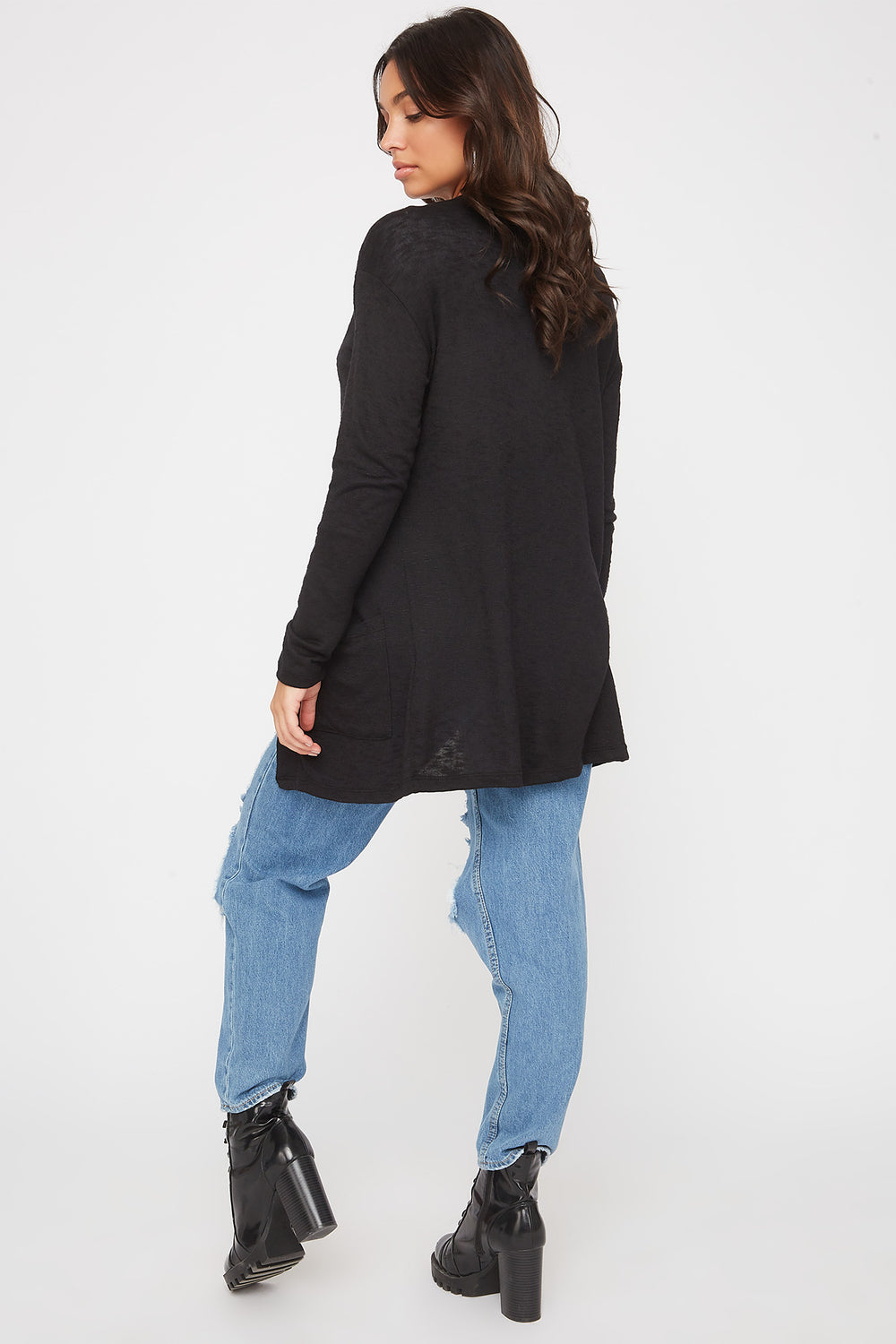 Long Sleeve Open-Front Cardigan Black