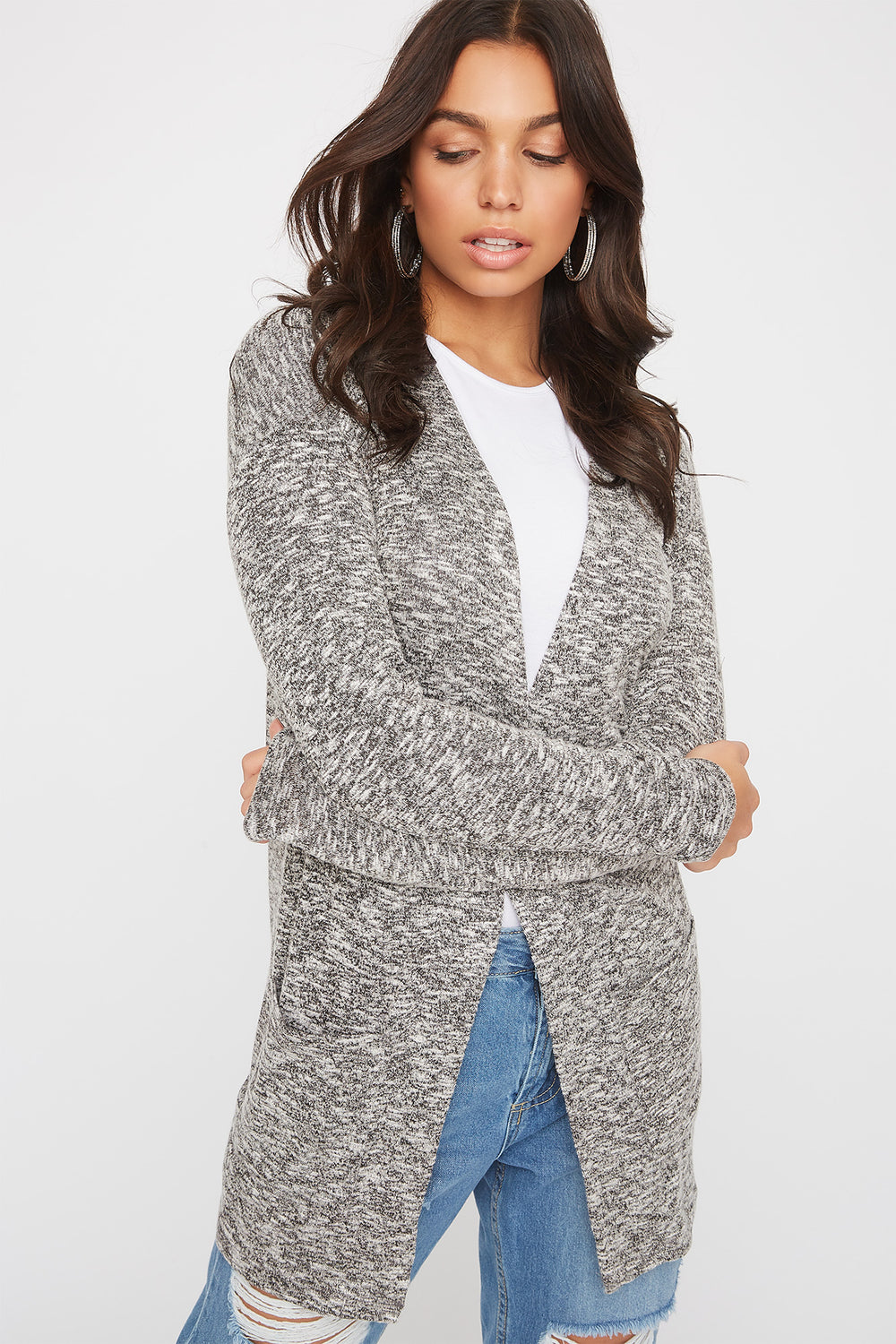 Long Sleeve Open-Front Cardigan Heather Grey