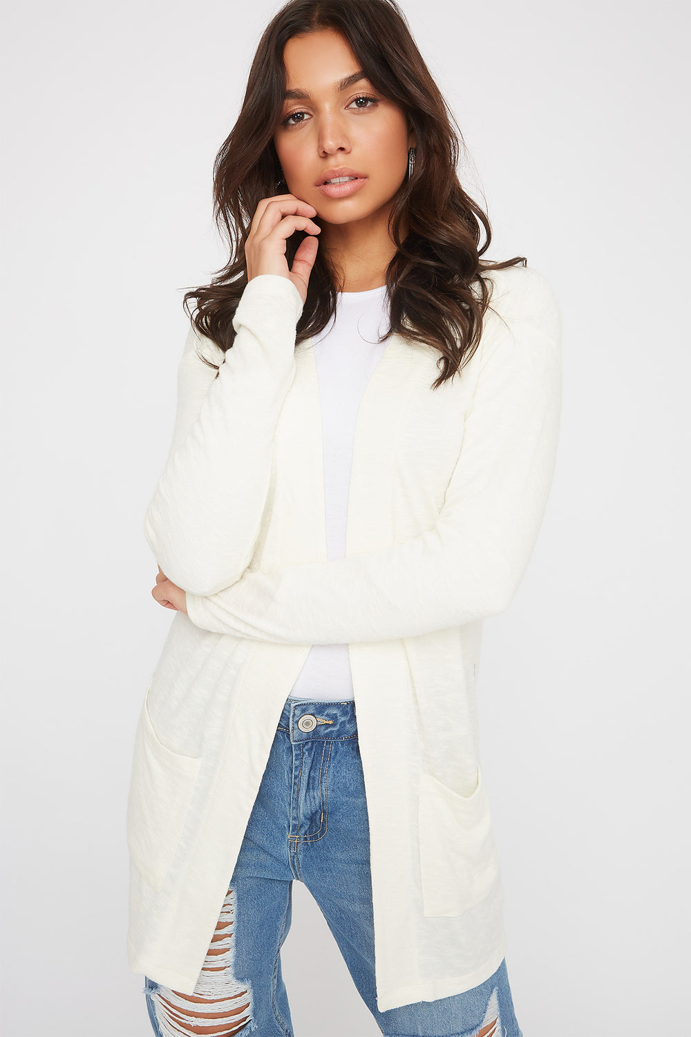 Long Sleeve Open-Front Cardigan Cream
