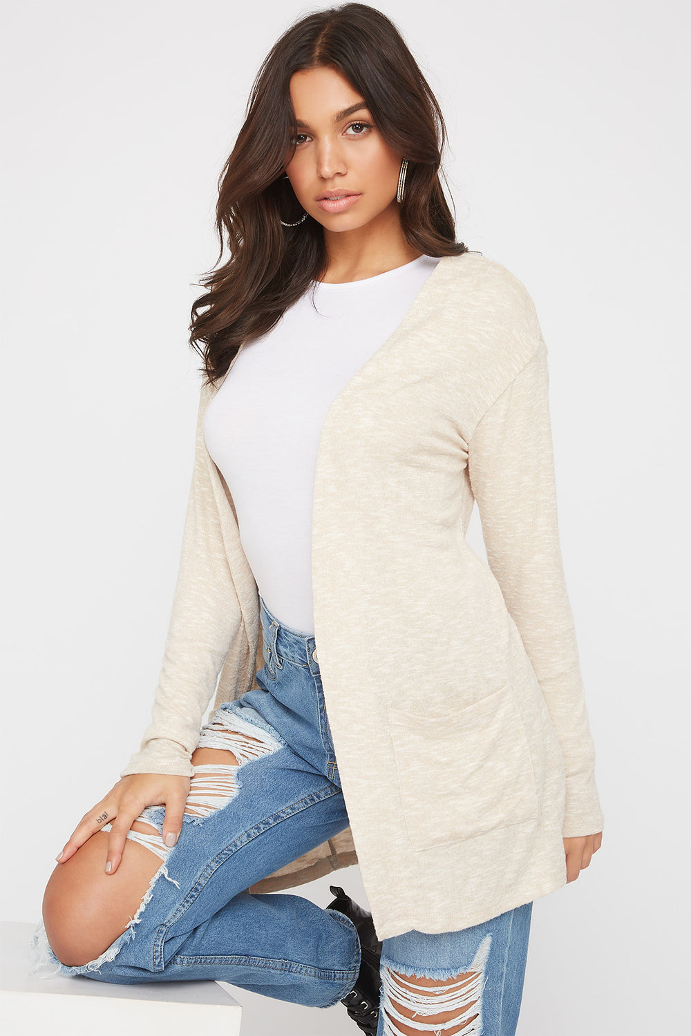 Long Sleeve Open-Front Cardigan Oatmeal
