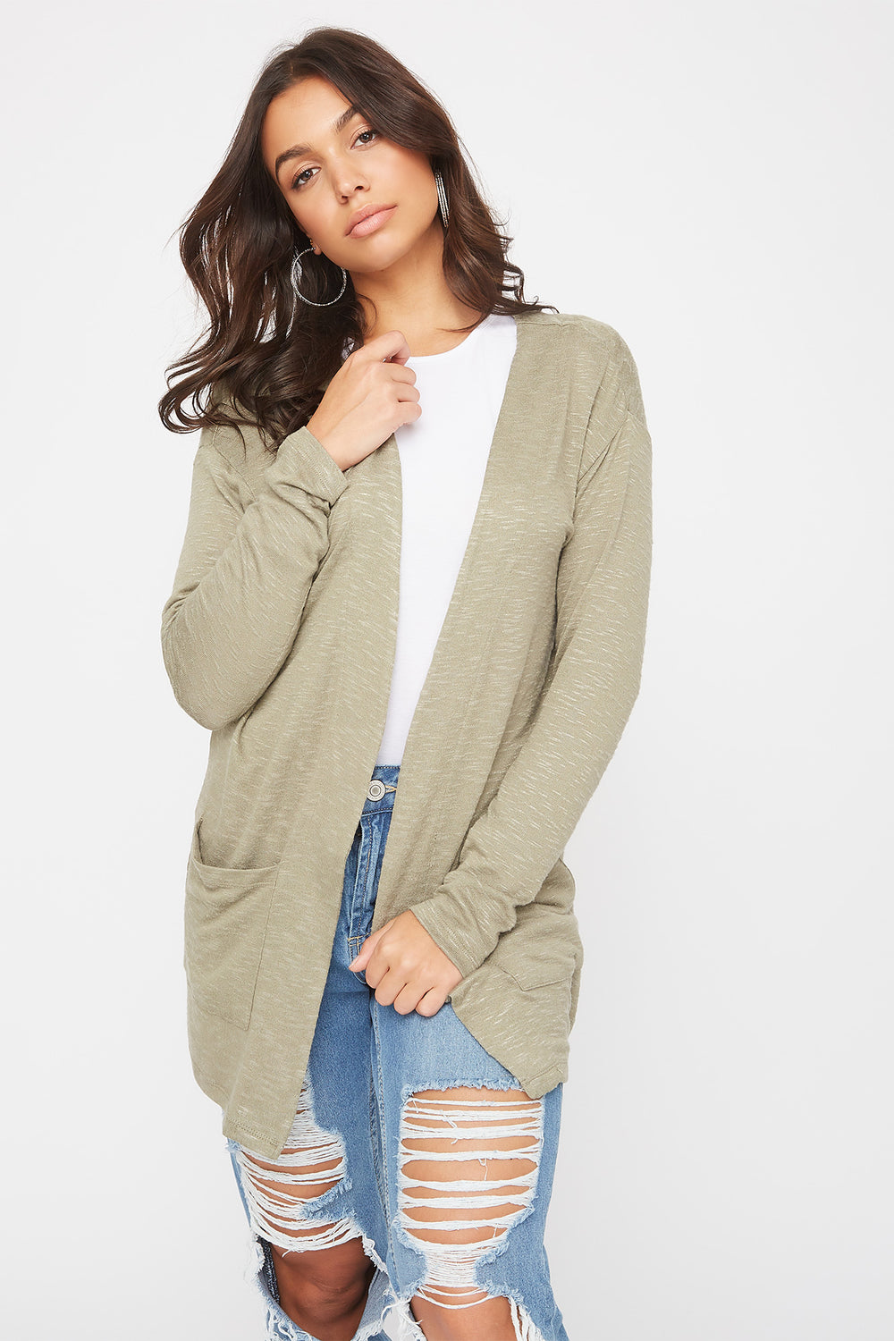 Long Sleeve Open-Front Cardigan Dark Green