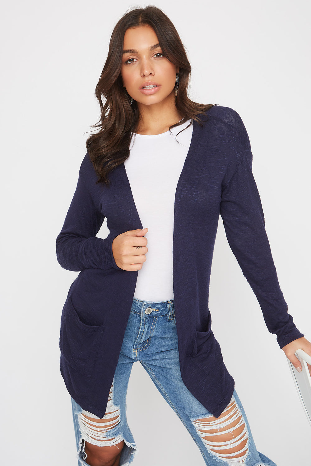 Long Sleeve Open-Front Cardigan Navy