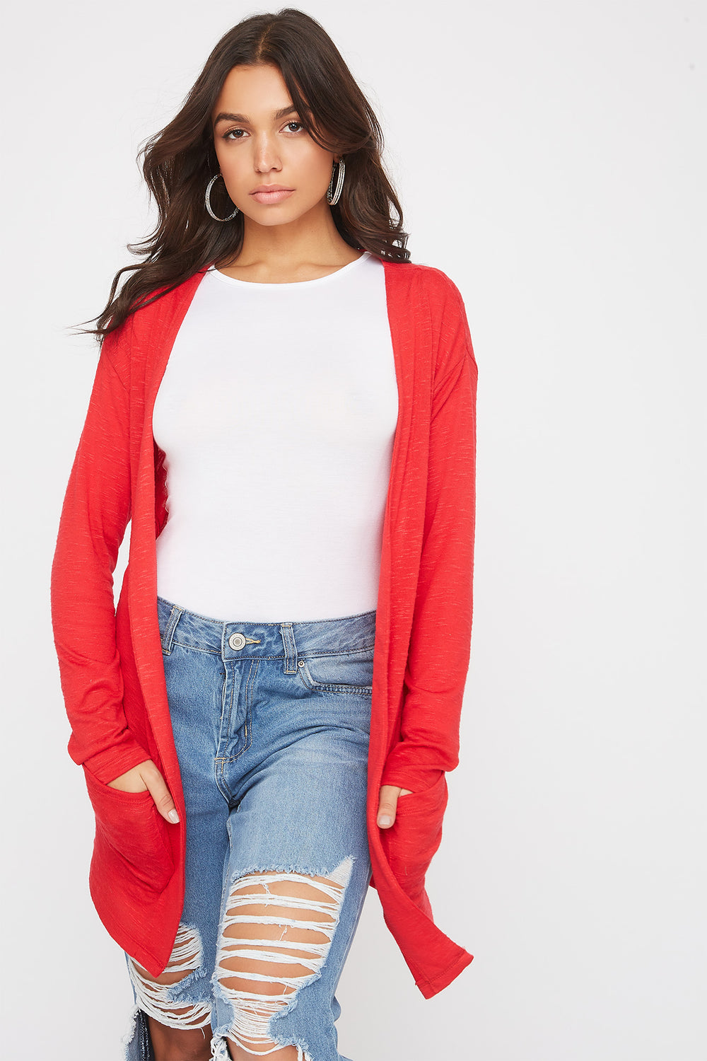 Long Sleeve Open-Front Cardigan Red