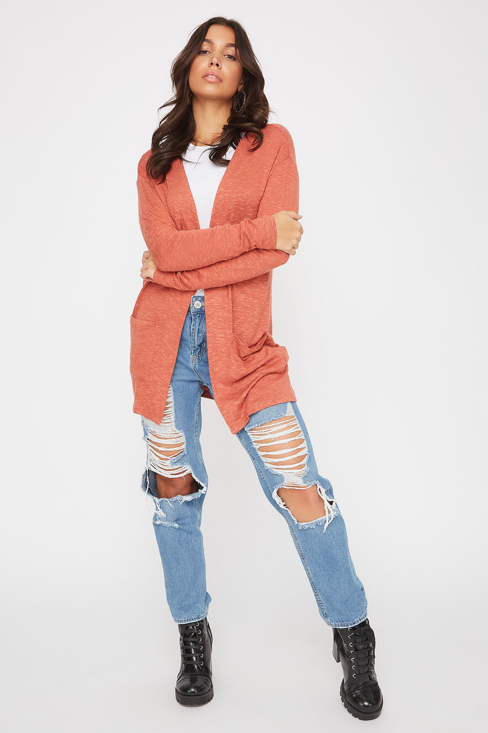 Long Sleeve Open-Front Cardigan Rust