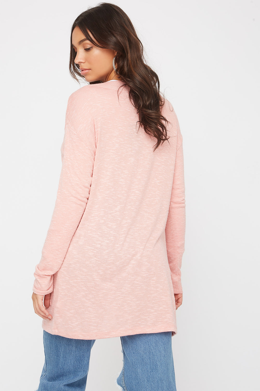 Long Sleeve Open-Front Cardigan Light Pink