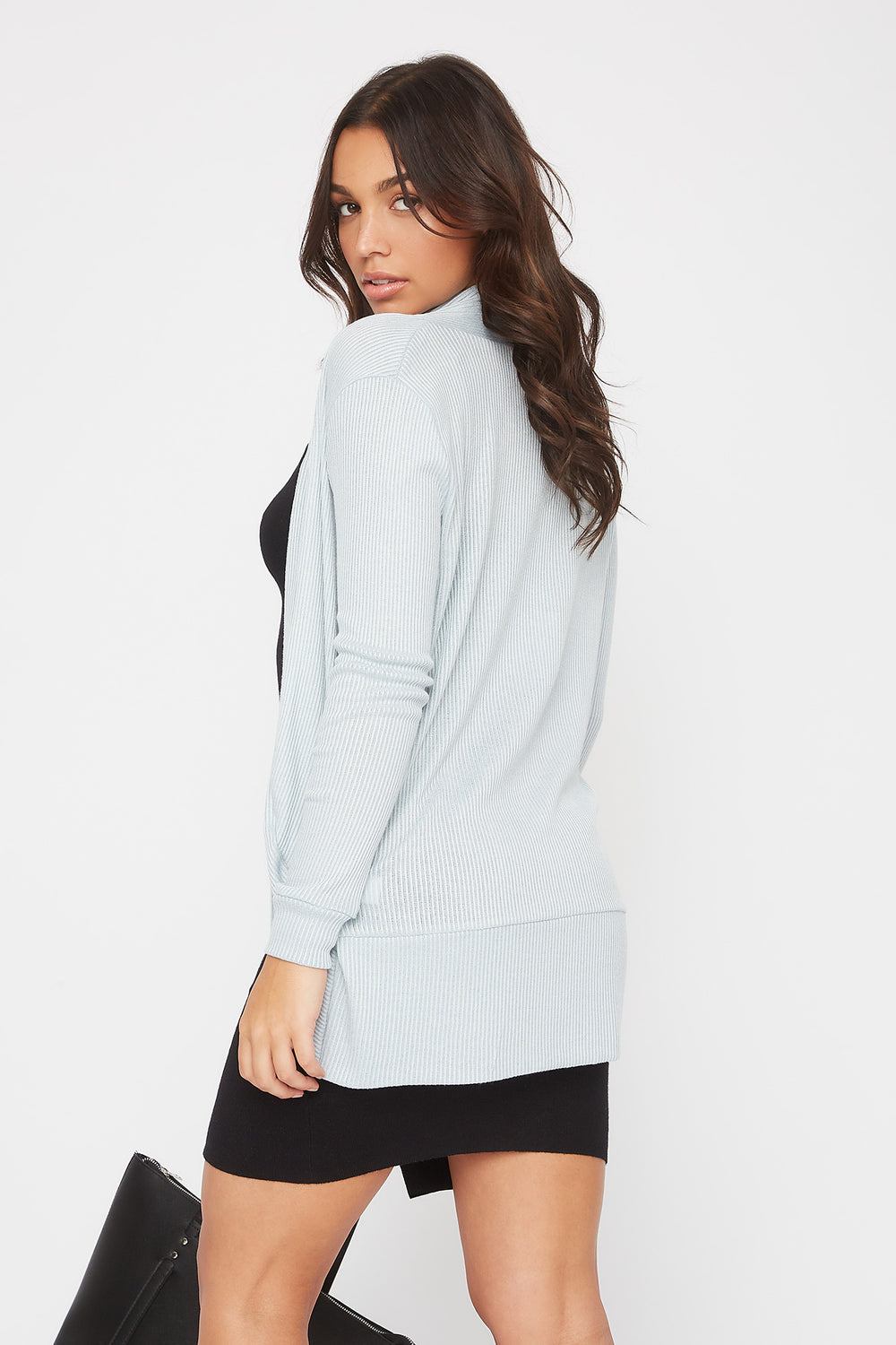 Ribbed Cocoon Cardigan Baby Blue