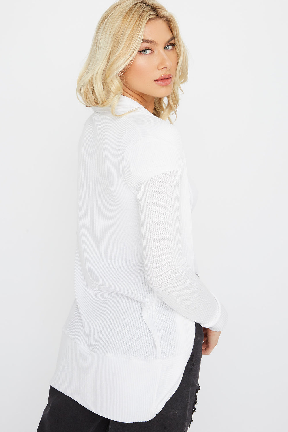Ribbed Open-Front Cocoon Cardigan White