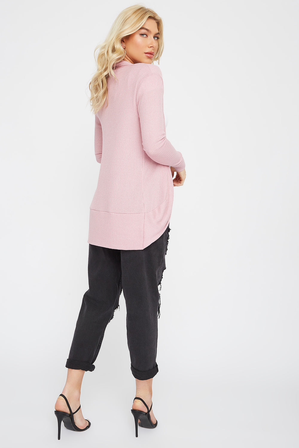 Ribbed Open-Front Cocoon Cardigan Dusty Rose