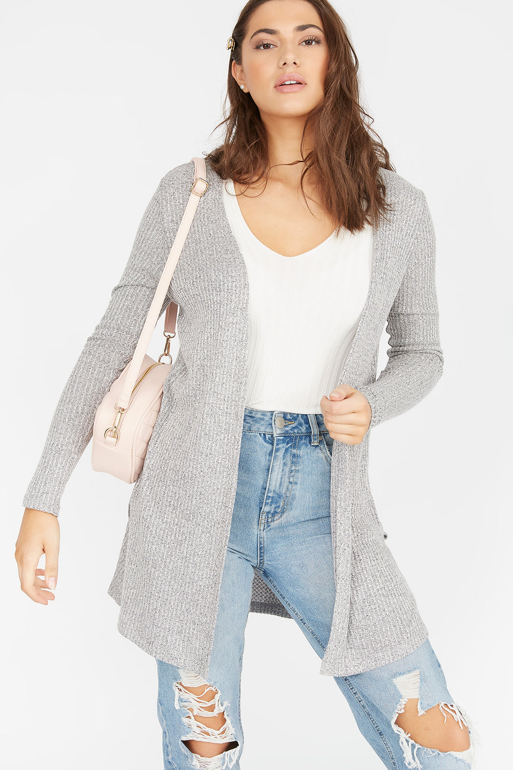 Waffle Knit Duster Cardigan Heather Grey