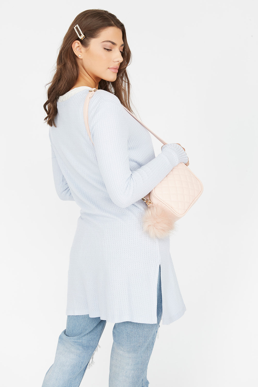 Waffle Knit Duster Cardigan Light Blue