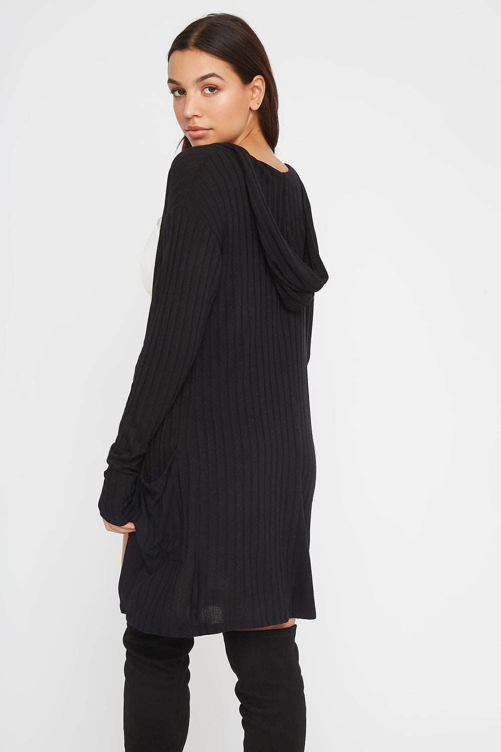 Ribbed Open-Front Cardigan Black