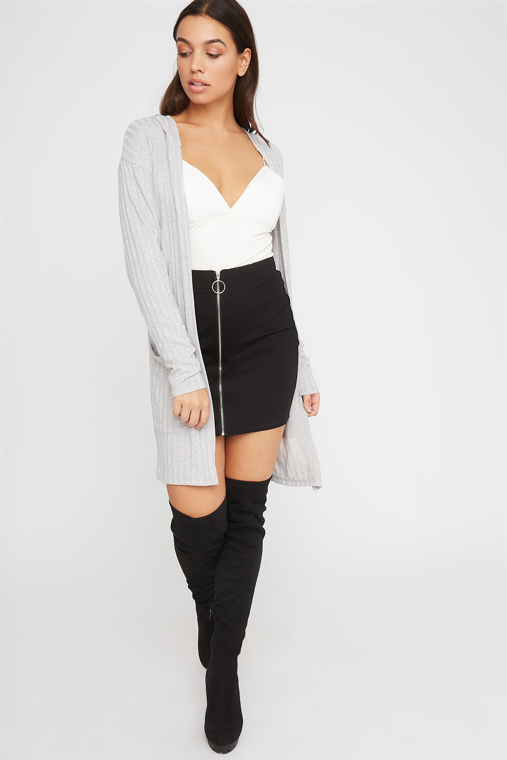 Ribbed Open-Front Cardigan Heather Grey