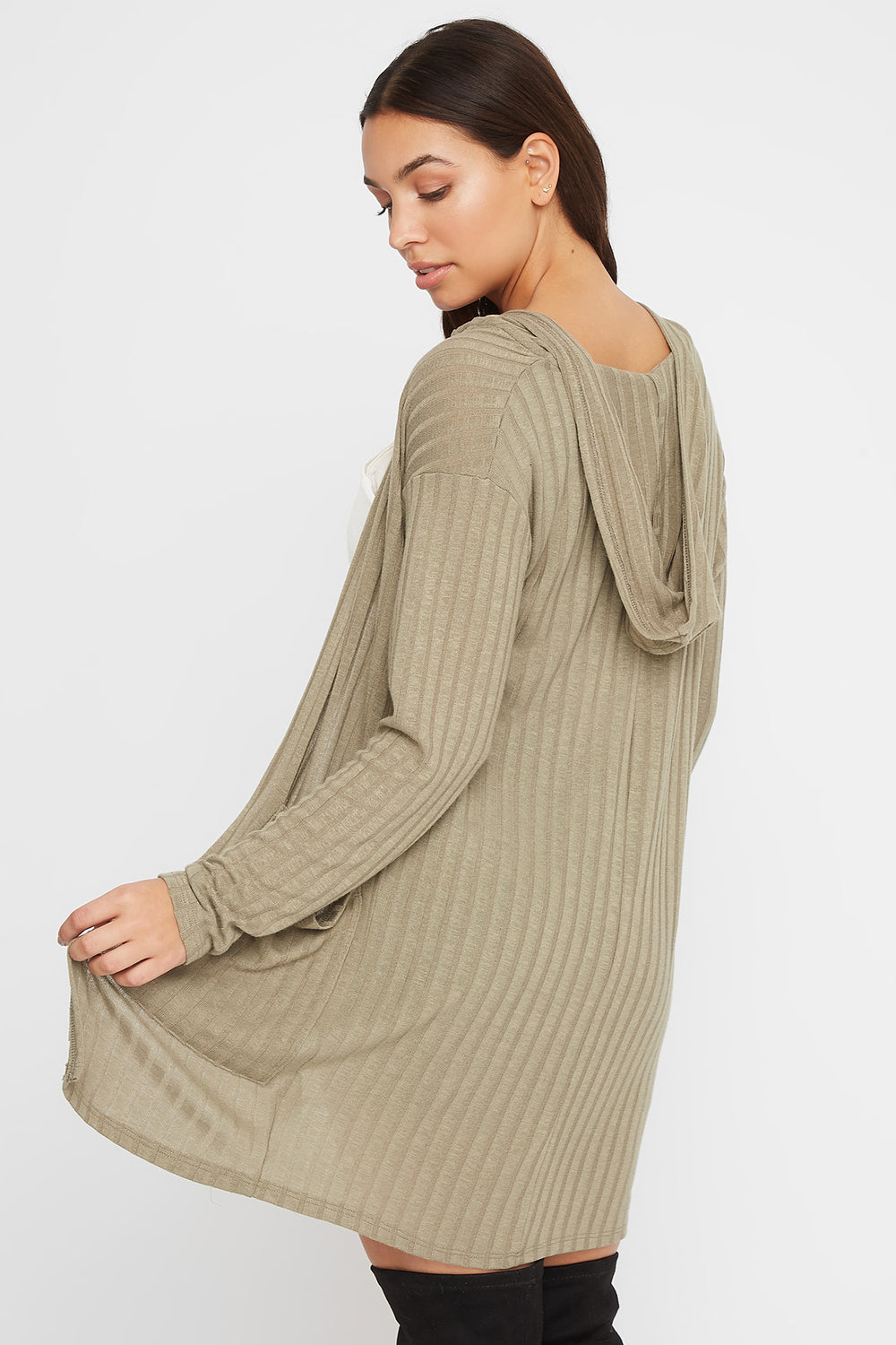 Ribbed Open-Front Cardigan Dark Green