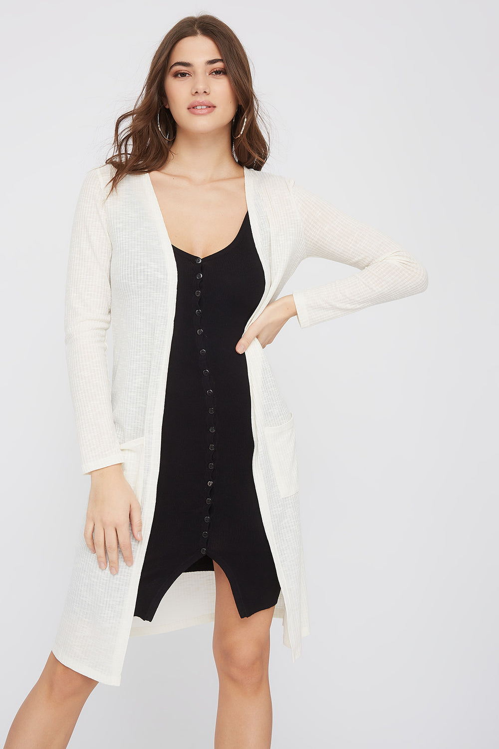 Ribbed Pocket Duster Cardigan Cream
