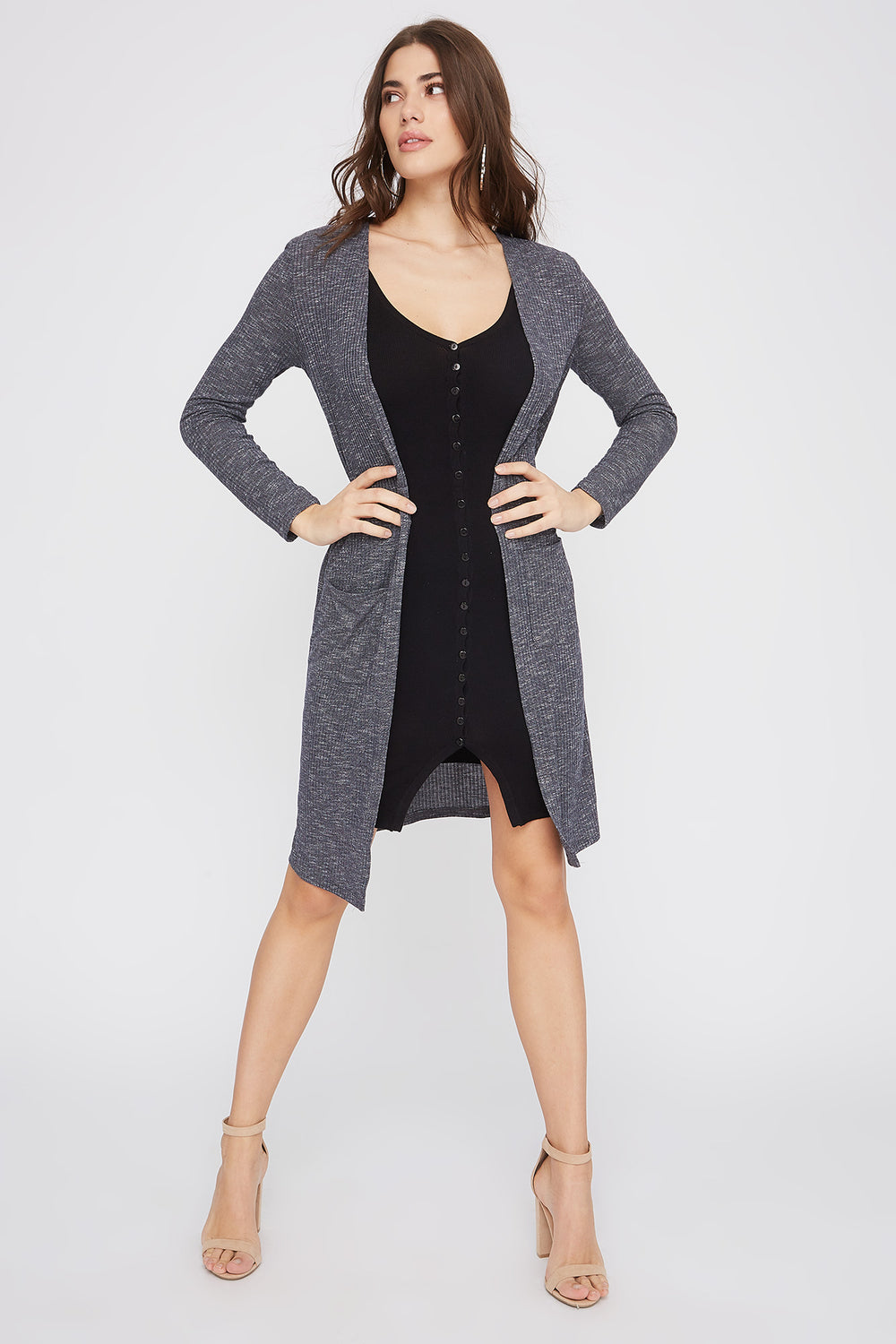 Ribbed Pocket Duster Cardigan Blue