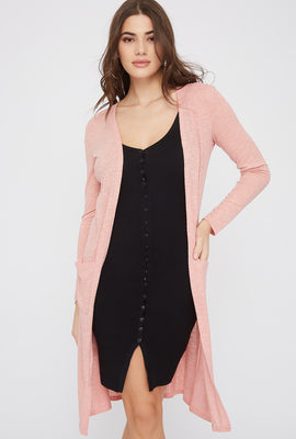 Ribbed Pocket Duster Cardigan