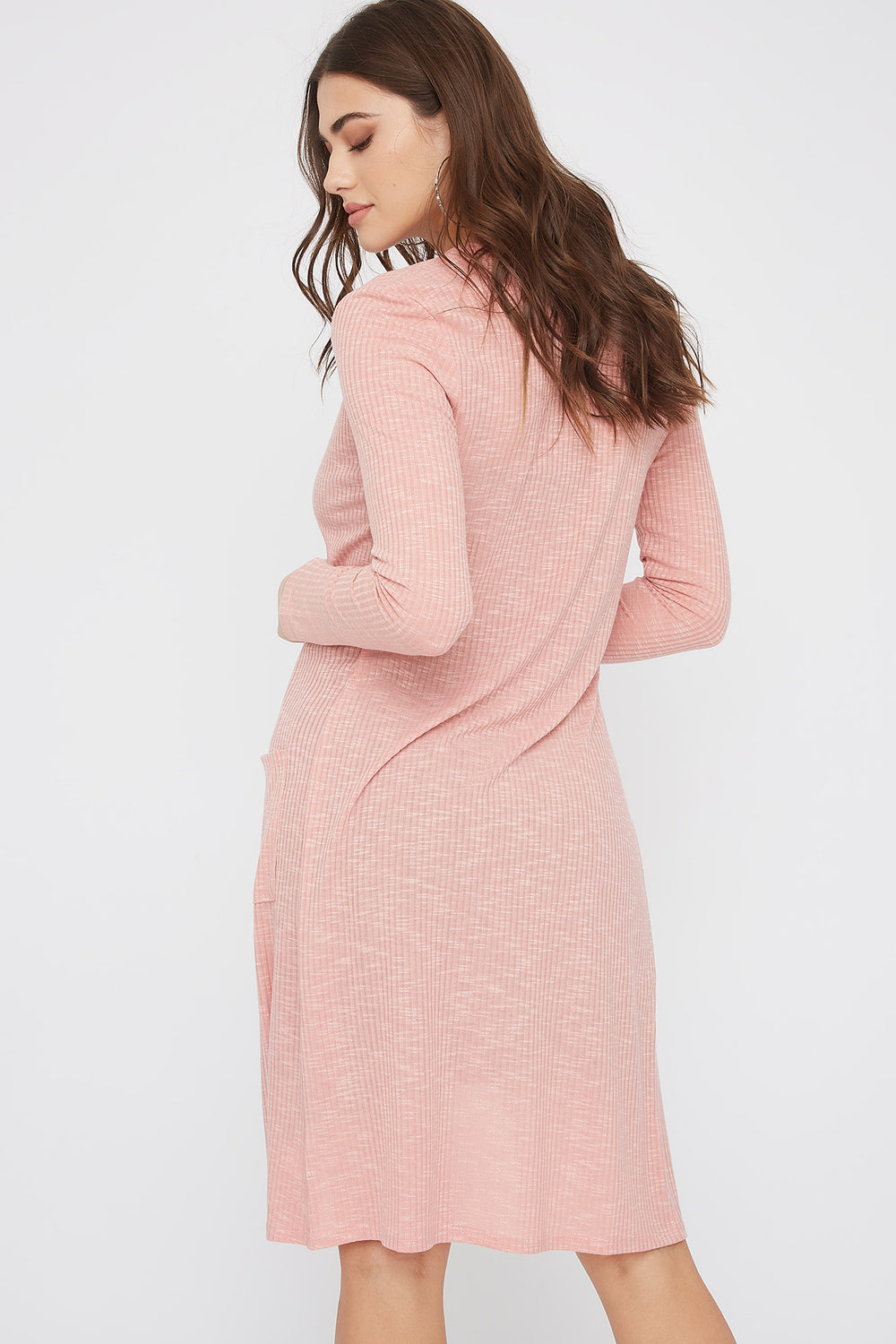 Ribbed Pocket Duster Cardigan Light Pink