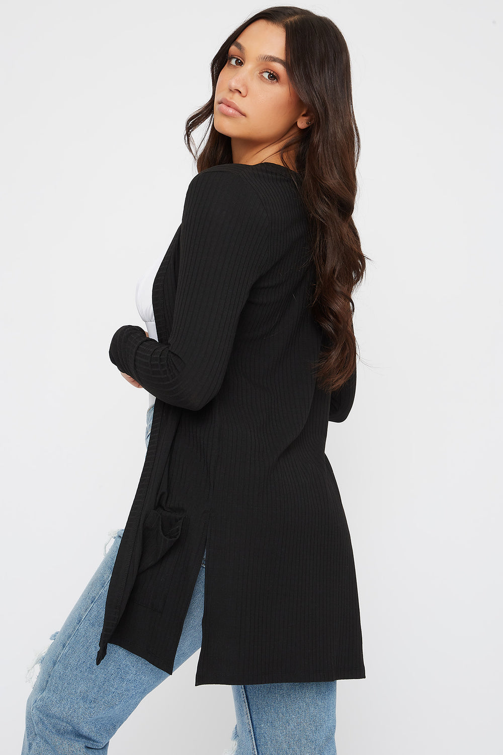 Ribbed Long Sleeve Open Front Cardigan Black