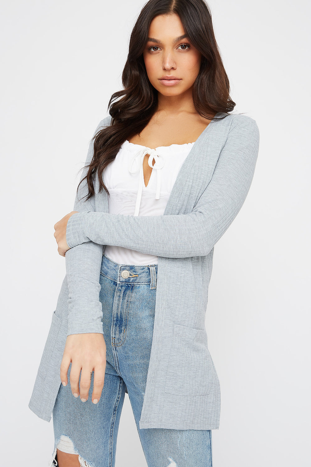 Ribbed Long Sleeve Open Front Cardigan Heather Grey