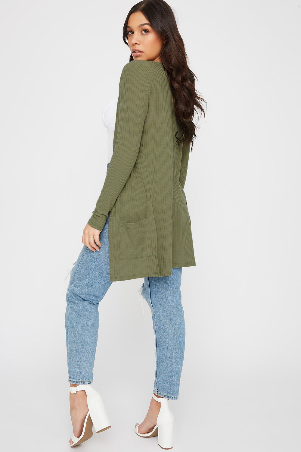 Ribbed Long Sleeve Open Front Cardigan Dark Green