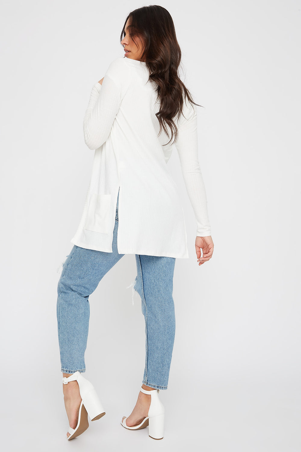Ribbed Long Sleeve Open Front Cardigan Ivory