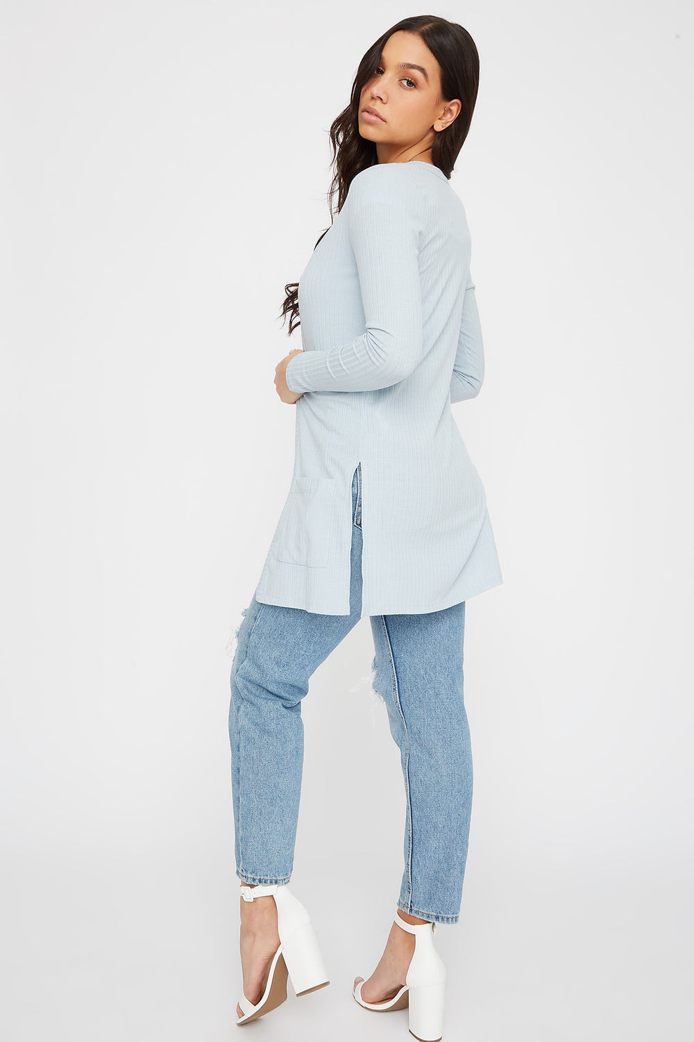 Ribbed Long Sleeve Open Front Cardigan Baby Blue